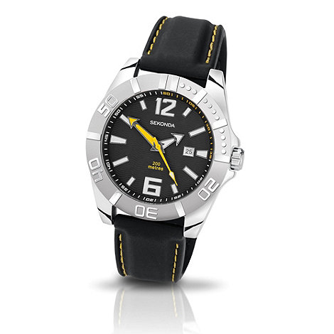 Sekonda - Men+s black round case PU strap watch