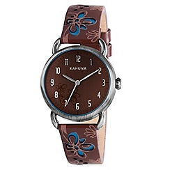 Kahuna - Women's Quartz Watch with Brown Dial Analogue Display and Brown Leather Strap