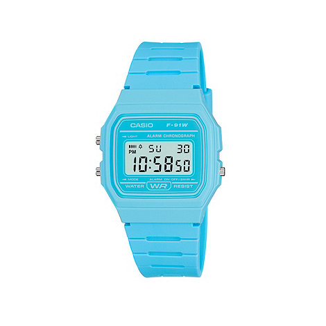 Casio - Ladies turquoise square case watch