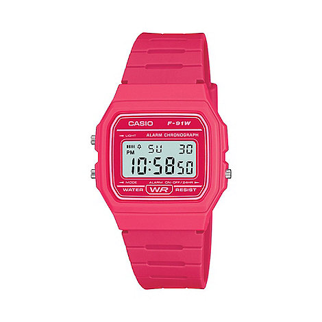 Casio - Unisex pink square case watch f-91wc-4aef