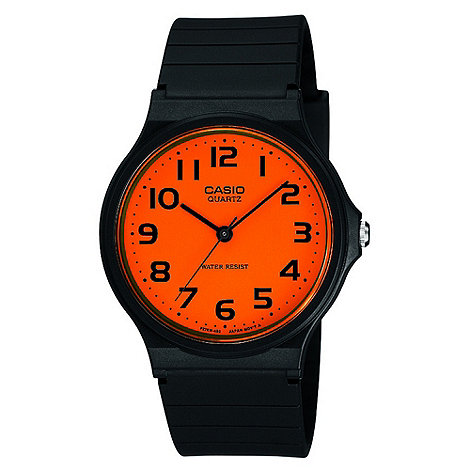 Casio - Ladies black orange dial watch