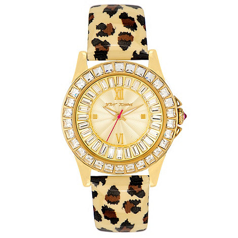 Betsey Johnson - Ladies gold-plated patent dial print strap watch