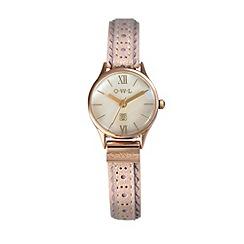 O.W.L - Ladies pink leather strap watch