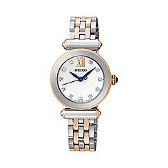 Seiko - Ladies two-tone rose gold stainless steel bracelet watch