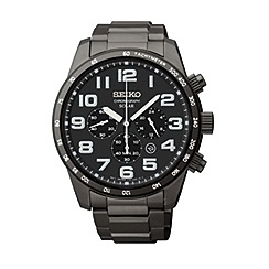 Seiko - Men's ion plated solar chronograph bracelet watch