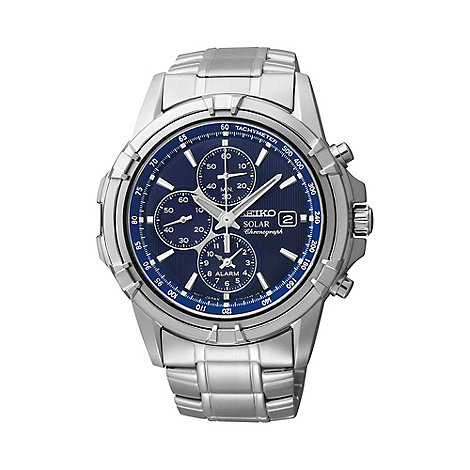 Seiko - Men+s stainless steel solar chronograph bracelet watch