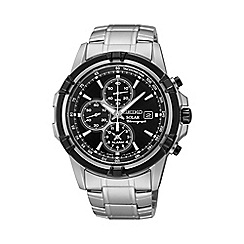 Seiko - Men's stainless steel solar chronograph bracelet watch