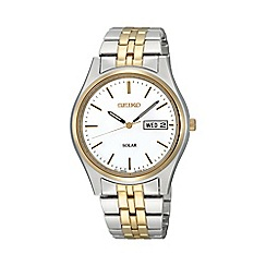 Seiko - Mens two tone solar bracelet watch