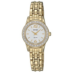 Seiko - Ladies gold plated solar bracelet watch sup128p9