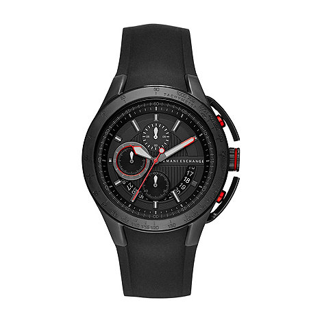 Armani Exchange - Mens black chronograph silicone strap watch
