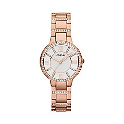 Fossil - Virginia three hand rose gold stainless steel watch
