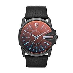 Diesel - Mens SS black iridescent black strap watch