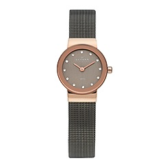Skagen - Ladies Freja charocal tone stainless steel mesh strap watch