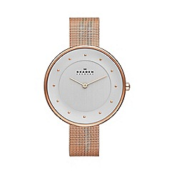 Skagen - Ladies Gitte rose gold tone mesh strap watch