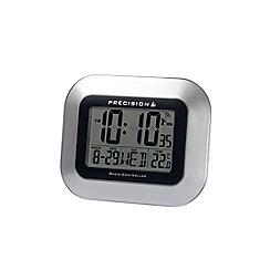 Precision - Silver and black radio controlled clock