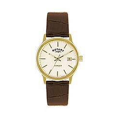 Rotary - Mens 'Avenger' champagne dial brown strap watch