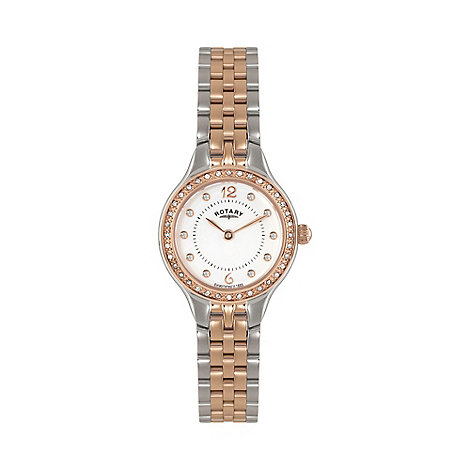 Rotary - Ladies two tone rose gold bracelet watch lb02868/01