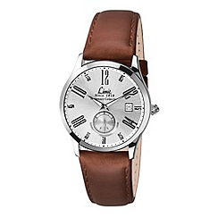 Limit - Men's Centenary collection silver coloured leather strap watch.