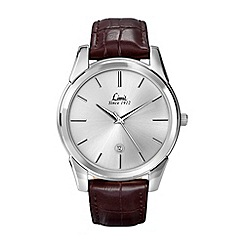 Limit - Men's silver coloured brown strap watch.