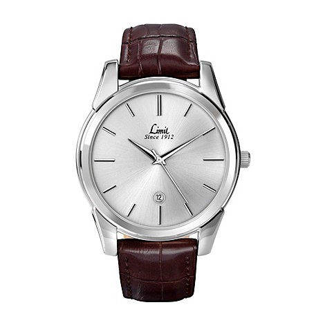 Limit - Men+s silver coloured brown strap watch.