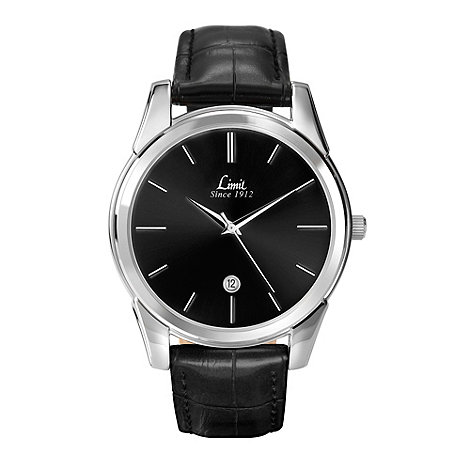 Limit - Men+s silver coloured black strap watch.