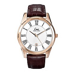 Limit - Men's rose gold plated brown strap watch.