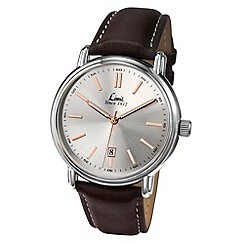 Limit - Men's silver coloured dark brown strap watch.