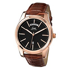 Limit - Men's rose gold day/date strap watch.