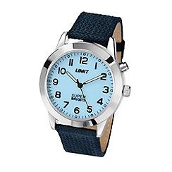 Limit - Men's Super Bright silver coloured blue canvas strap watch.