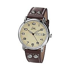 Limit - Men's Pilot style brown strap watch.