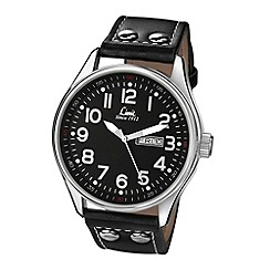 Limit - Men's Pilot style black strap watch.