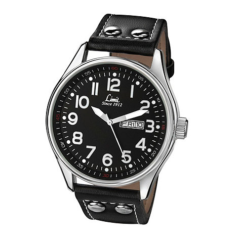 Limit - Men+s Pilot style black strap watch.
