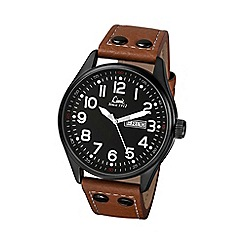 Limit - Men's black Pilot style brown strap watch.