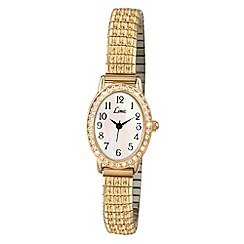 Limit - Ladies gold plated stone set expanding bracelet watch.