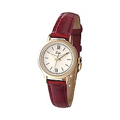 Limit - Ladies gold plated burnt amber strap watch.