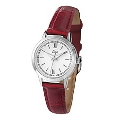 Limit - Ladies silver coloured burgundy strap watch.