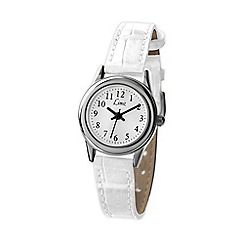Limit - Ladies silver round dial with white croc strap watch