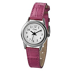 Limit - Ladies silver coloured pink strap watch.