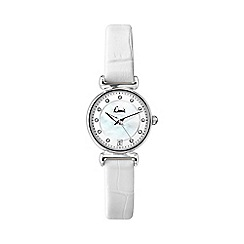 Limit - Ladies silver coloured white strap watch.