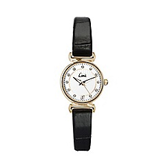 Limit - Ladies gold plated black strap watch.