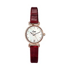 Limit - Ladies rose gold plated burgundy strap watch.