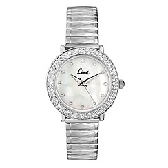 Limit - Ladies silver coloured stone set expanding bracelet watch.