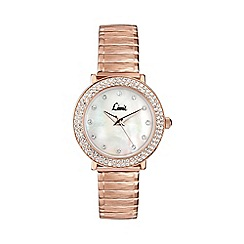 Limit - Ladies rose gold plated stone set expanding bracelet watch 6942.02