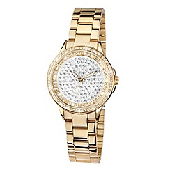 Limit - Ladies gold plated stone set bracelet watch