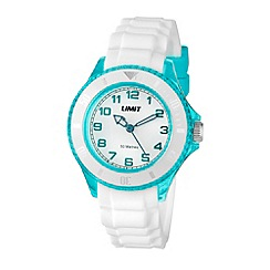 Limit - Unisex Aqua coloured white strap watch.