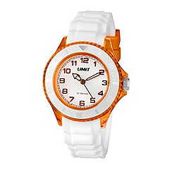 Limit - Unisex orange coloured white strap watch.