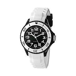 Limit - Unisex black watch with white strap.