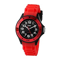 Limit - Unisex black watch with red strap.