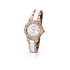 Sekonda - Ladies rose gold plated stone set bracelet watch