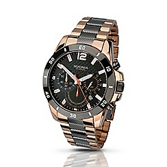 Sekonda - Mens rose gold and gunmetal chronograph bracelet watch